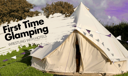 Bell tent with headline text
